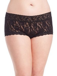 Hanky Panky Plus Size Wide Band Signature Lace Boyshorts White Black Chai