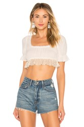 Only Hearts Club Square Neck Crop Top Ivory