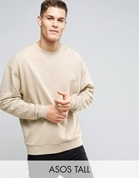 Asos Tall Oversized Sweatshirt In Beige Oxford Tan