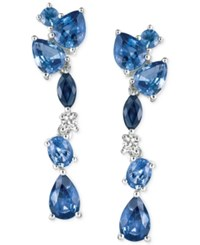 Le Vian Ceylon Sapphire 2 3 4 Ct. T.W. And Diamond Accent Drop Earrings In 14K White Gold