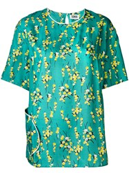 Sonia Rykiel By Short Sleeve Floral Blouse Women Viscose 42 Green