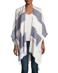 Vince Camuto Raw Edge Woven Blanket Wrap White