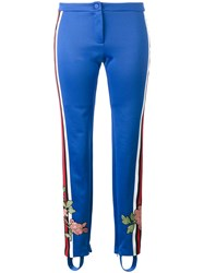 Gucci Floral Embroidered Trousers Women Cotton Polyester L Blue