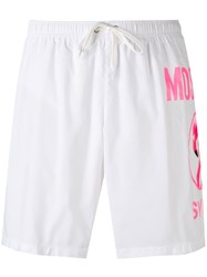 Moschino Flamingo Logo Swim Shorts Men Polyamide Xs White