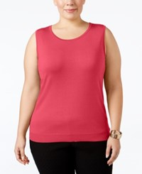 August Silk Plus Size Sleeveless Shell Pink Punch