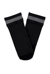Forever 21 Metallic Striped Ankle Socks Black Silver
