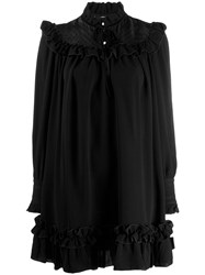Marc Jacobs Embroidered Ruffle Trim Dress Black