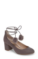 Charles By Charles David Women's Libby Faux Fur Pompom Pump Slate Suede