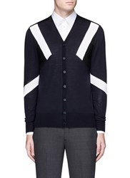 Neil Barrett 'Retro Modernist' Colourblock Wool Cardigan Multi Colour