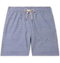 Faherty Beacon Slim Fit Mid Length Printed Swim Shorts Indigo