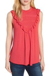 Everleigh Lace Inset Tank Top Deep Coral