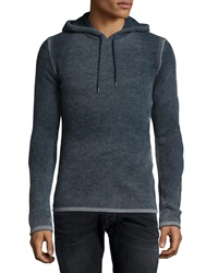 John Varvatos Reverse Print Hooded Pullover Sweater Gray