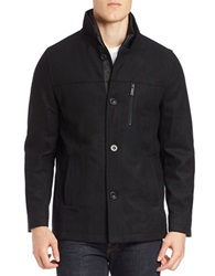 Kenneth Cole Wool Blend Button Front Jacket Black