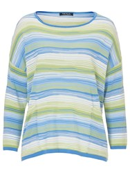 Betty Barclay Candy Striped Oversized Jumper Blue Green