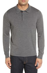 John W. Nordstromr Men's Big And Tall Nordstrom Wool Polo Sweater Grey Heather