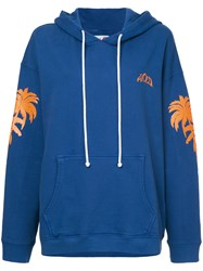 Adaptation Palm Tree Embroidered Hoodie Blue
