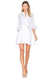 Derek Lam Button Down Ruffled Hem Shirt Dress White
