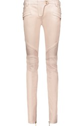 Balmain Paneled Leather Skinny Pants Blush