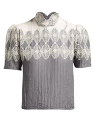 Thierry Colson Sabrina Lace Trimmed Cotton Blend Blouse Grey White