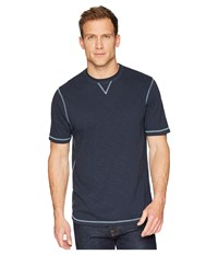 True Grit Heritage Slub Classic Fit Pigment Dyed Short Sleeve Knit Crew With Contrast Coverstitch Navy T Shirt