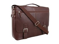 Boconi Bags And Leather Tyler Tumbled Expandable Flap Brief Messenger Coffee Leather Messenger Bags Brown