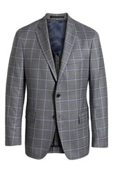 Hart Schaffner Marx Big And Tall Classic Fit Plaid Wool Sport Coat Medium Grey