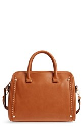 Sole Society Speedy Studded Faux Leather Satchel Brown Cognac