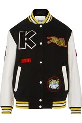 Kenzo Embroidered Wool Blend And Leather Bomber Jacket Black