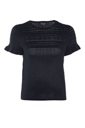 Topshop Stitchy Ruffle Knitted T Shirt Navy Blue