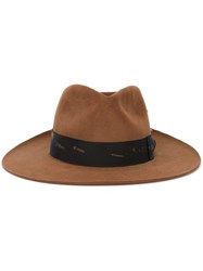 Nick Fouquet Feather Detailing Hat Brown
