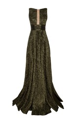Alex Perry Rhett Lurex Sheer Front Boat Neck Gown Green