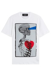 Dsquared2 Cotton T Shirt With Skeleton Print White