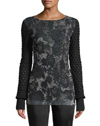 Fuzzi Floral Lace Textured Sleeve Top Black