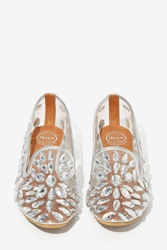 Nasty Gal Jeffrey Campbell Elegant Jeweled Loafers Silver