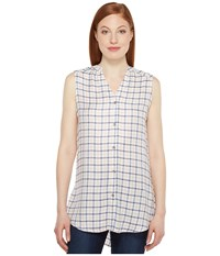 Jag Jeans Aspen Sleeveless Top In Rayon Plaid Ivory Plaid Women's Sleeveless Bone