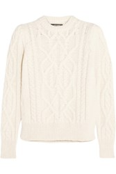 Isabel Marant Gayle Cable Knit Alpaca Blend Sweater Ecru