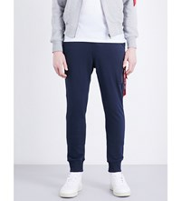 Alpha Industries Branded Tab Cotton Blend Jogging Bottoms Rep Blue