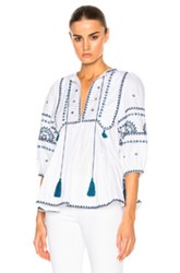 Talitha Indian Peasant Top In Blue White Blue White