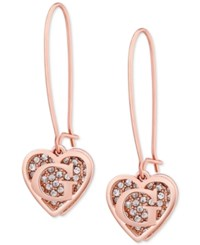 Guess Rose Gold Tone Pave Heart Logo Drop Earrings