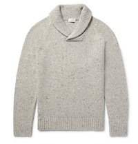Club Monaco Shawl Collar Wool Blend Sweater Mushroom