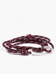 Miansai Maroon Cord And Silver Plated Hook Bracelet