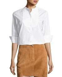 Helmut Lang 3 4 Sleeve Cotton Poplin Tuxedo Shirt White