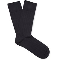 John Smedley Sedley Pontus Ribbed Cotton Blend Socks Navy