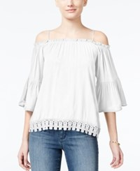 Almost Famous Crave Fame Juniors' Lace Trim Off The Shoulder Top White