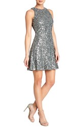 Women's Dress The Population 'Mia' Sequin Cutaway Fit And Flare Dress Grey
