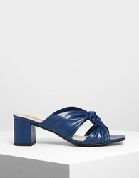 Charles And Keith Ruched Mules Dk.Blu