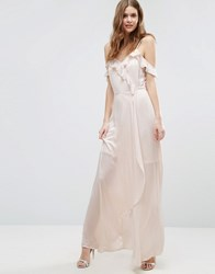 Vero Moda Tall Cold Shoulder Frill Front Maxi Dress Silver Peony Pink