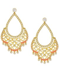 Swarovski Gold Tone Clear And Colored Crystal Chandelier Earrings