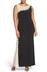 Xscape Evenings Plus Size Women's Lace Side Sleeveless Matte Jersey Gown Black Gold