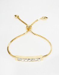 Love Rocks Sparkle Bar Metal Plait Friendship Bracelet Gold